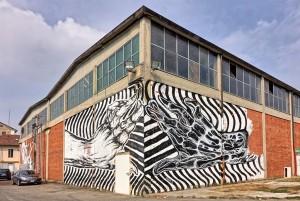 Artisti vari, murales senza titolo, spazio culturale Variante Bunker, via Quittengo 41. Fotografia di Roberto Cortese, 2017 © Archivio Storico della Città di Torino