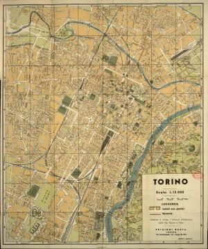 Pianta topografica della città di Torino, 1950 circa. Biblioteca civica centrale, Cartografico  3/4.6.01 © Biblioteche civiche torinesi