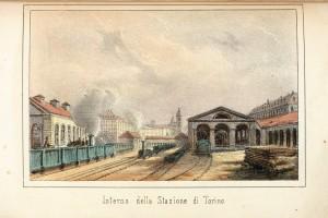 Stazione di Porta Nuova, interno, litografia. © Archivio Storico della Città di Torino