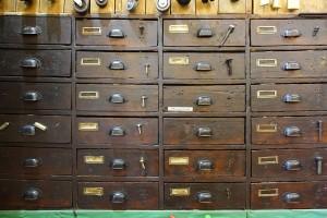 Ferramenta Ghione, particolare dei cassetti all'interno, 2017 © Archivio Storico della Città di Torino