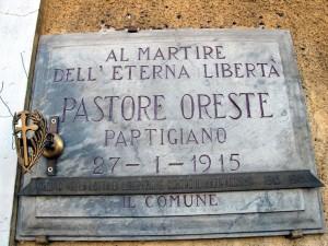 Lapide dedicata a Oreste Pastore (1925 - 1945)