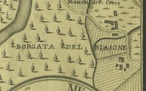 Cascina Biasone. Amedeo Grossi, Carta Corografica dimostrativa del territorio della Città di Torino, 1791. © Archivio Storico della Città di Torino