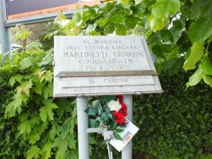 Lapide in memoria di Giovanni Martinetti tra corso Ferrucci e corso Vittorio Emanuele II. Fotografia di Paola Boccalatte, 2014. © MuseoTorino