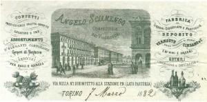 Angelo Sciamengo, Confetteria dei Viaggiatori, particolare dell'intestazione di una fattura commerciale della confetteria, 7 marzo 1882, © Archivio Storico della Città di Torino