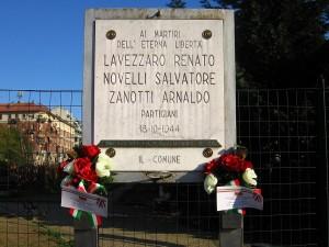 Lapide dedicata a Lavezzaro Renato, Novelli Salvatore, Zanotti Arnaldo