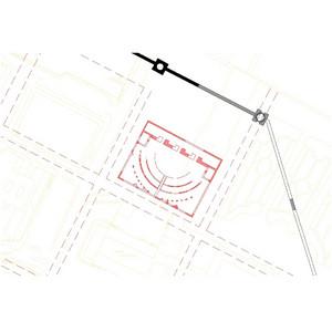 Planimetria ricostruttiva del teatro nella sua forma più antica, © Soprintendenza per i Beni Archeologici del Piemonte e del Museo Antichità Egizie.