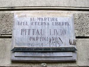 Lapide dedicata a Pittau Livio (1921 - 1945)