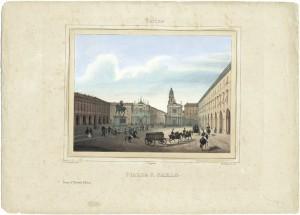 Piazza San Carlo. Cromolitografia dei F.lli Doyen su disegno di E. Gonin, 1841. © Archivio Storico della Città di Torino.