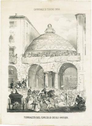 Casimiro Teja, Festa di carnevale sul terrazzo del Circolo degli Artisti, litografia, 1858. © Archivio Storico della Città di Torino.