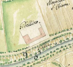 Cascina Gibellino. Carlo Antonio Bussi, Tipo dimostrativo del corso della bealera del Martinetto, 1748. © Archivio Storico della Città di Torino