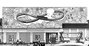 """""""Habitat"""" di Millo, 2014. muro dipinto in via Scarlatti 52. Fotografia di Millo, 2014 © Millo"""