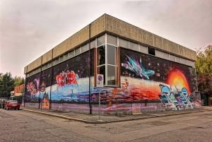 Corn79 e altri, murale senza titolo, 2011, muri della piscina Colletta
