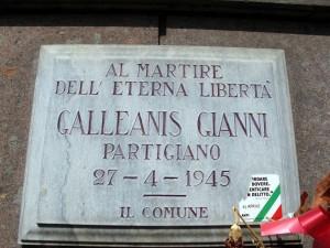 Lapide dedicata a Gianni Galleanis