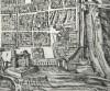 Johann Criegher su disegno di Giovanni Caracca, Augusta Taurinorum di  Emanuele Filiberto Pingone (1577). Pianta prospettica di Torino con la  Cittadella, 1572 (Particolare del Bastion Verde). © Biblioteca Reale di Torino, Incisioni, III 16