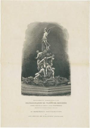 Monumento commemorativo dell'inaugurazione del traforo del Moncenisio, litografia. © Archivio Storico della Città di Torino