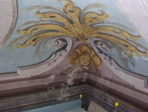 Dettaglio di un affresco prima dei restauri a villa Amoretti. © Città di Torino.
