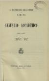 «Annuario accademico», A. XVI, a.a. 1891-1892, Torino, copertina