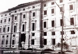 La Scuola di Guerra danneggiata dai bombardamenti del 1942.