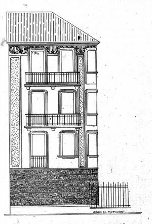 Prospetto della casa in via Giachino 36 tratto dal progetto edilizio presentato dall'allora proprietario dello stabile, Milano Basilio, per il suo ampliamento nel 1927.