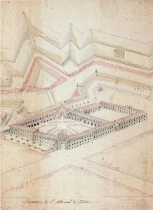 Il complesso prima degli interventi juvarriani, ante 1728 (Istituto Storico e di Cultura dell'Arma del Genio di Roma, da Borasi, 1995).
