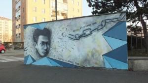 Murale dedicato a Emanuele Artom. Via Artom angolo via Candiolo. Fotografia Paola Boccalatte, 2016