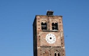 Dettaglio campanile dell' Abbadia di Stura. Fotografia di Edoardo Vigo, 2012.