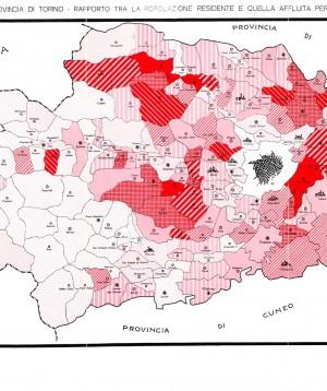 Comuni della provincia di Torino. Rapporto tra la popolazione residente e quella affluita per sfollamento. Annuario statistico per l'anno 1943 (seconda parte). © Città di Torino