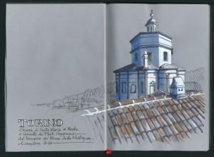 Lorenzo Dotti, Torino. Chiesa di Santa Maria al Monte e Convento dei Frati Cappuccini dal terrazzo del Museo della Montagna, dicembre 2017, tempera e acquerello
