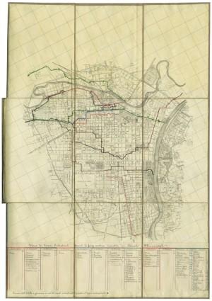 Planimetria dei Canali Municipali della Città di Torino, 1886. In essa sono elencate anche, distinte per ogni canale, le imprese utilizzatrici.