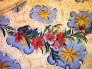 Dettaglio di un affresco durante i restauri dei soffitti di villa Amoretti. © Città di Torino.