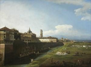Bernando Bellotto, Veduta di Torino dal lato dei Giardini Reali, olio su tela, Galleria Sabauda © Soprintendenza per i Beni Storici, Artistici ed Etnoantropologici del Piemonte.
