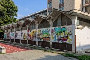 Artisti vari, muri del complesso scolastico Montevideo-Abruzzi via Tunisi, 2013