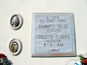 Lapide dedicata a Chiabotto Felice (1878 - 1944), Crosetto Giuseppe (1896 - 1944)