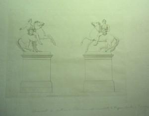 Cancellata di Piazzetta Reale,Dioscuri, disegno. Biblioteca Reale di Torino.