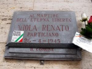 Lapide dedicata a Renato Viola (1922 - 1945)