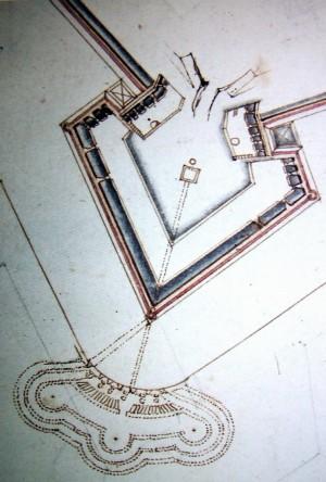 """Bastione San Lazzaro con l'antistante opera di difesa esterna detta """"Pastiss"""". AST, Carte topografiche per A e B (particolare). © Archivio di Stato di Torino"""