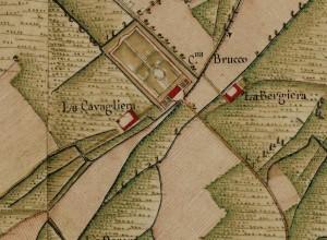 Villa Cristina, già cascina Brucco. Carta Topografica della Caccia, 1760-1766 circa. © Archivio di Stato di Torino