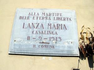 Lapide dedicata a Lanza Maria (1872 - 1943)