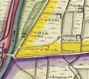 Cascina Verna nel quartiere Aurora. Amedeo Grossi, Carta Corografica dimostrativa del territorio della Città di Torino, 1791, © Archivio Storico della Città di Torino