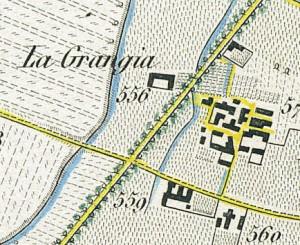 Cascina La Grangia, già Lagrange. Antonio Rabbini , Topografia della Città e Territorio di Torino, 1840. © Archivio Storico della Città di Torino
