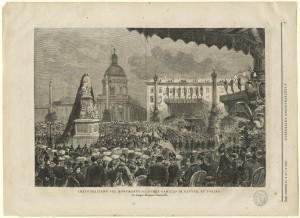 Inaugurazione del monumento a Camillo Benso conte di Cavour. Litografia da