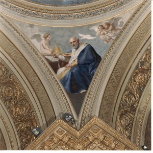 Francesco Gonin (1808-1889), Padre della Chiesa, affresco su un pennacchio all'imposta della cupola, 1852, chiesa di San Massimo. Fotografia del 2002