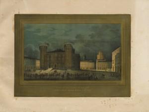 Illuminazione di piazza Castello in occasione delle feste per le nozze tra Vittorio Emanuele e Maria Adelaide, aprile 1842. © Archivio Storico della Città di Torino
