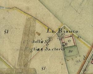 Cascina Bianco nel quartiere Vallette. Catasto Gatti, 1820-1830, © Archivio Storico della Città di Torino