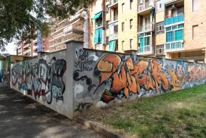Deder, Wubik, Bans, senza titolo, dettaglio del murale, 2015 giardini Natale Re. Fotografia di Roberto Cortese, 2017 © Archivio Storico della Città di Torino