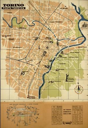 Torino. Pianta turistica, 1961. Biblioteca civica centrale, Cartografico  3/5.1.01 © Biblioteche civiche torinesi