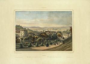 Veduta generale di Torino vista dal giardino di Villa della Regina. Litografia 1845. © Archivio Storico della Città di Torino