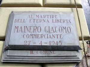 Lapide dedicata a Giacomo Mainero