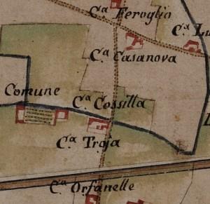Cascina Cossilla. Carta delle Regie Cacce, 1816. © Archivio di Stato di Torino