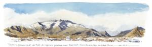Lorenzo Dotti, Torino, dal Monte dei Cappuccini guardando verso Nord Ovest, sullo sfondo da sinistra Orsiera Rocciavrè, Sacra San Michele, Musinè, 12 gennaio 2016, ore 11,15, acquerello